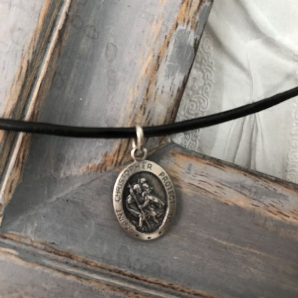 Boy's Confirmation gift - silver St Christopher leather necklace